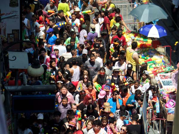 crowd on Silom road during Songkran 2016
