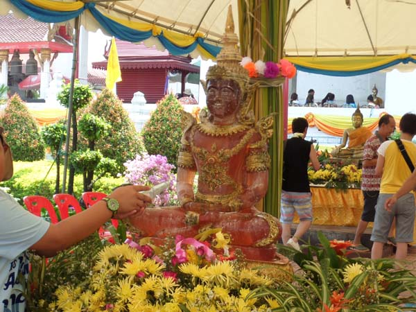Buddha in a temple in Ayuthaya during Songkran 2016