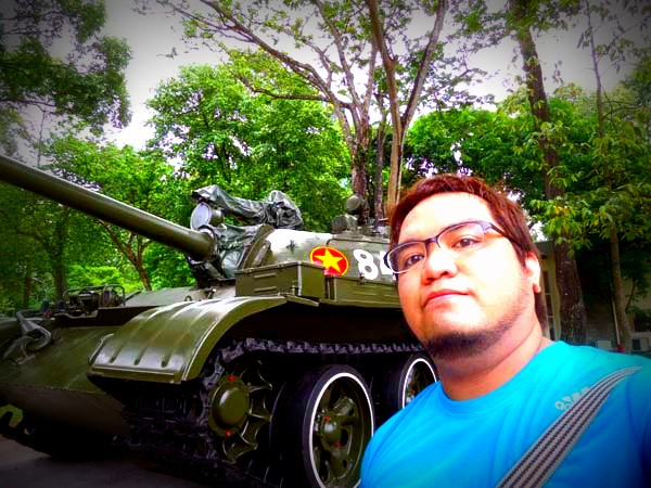 Ethan with the tank at the Independence Palace of Ho Chi Minh, Vietnam