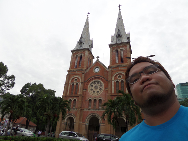 Ethan at Notre Dame Cathedral in Saigon, Vietnam