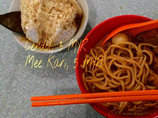 Mee Kari dish and Cendol dessert
