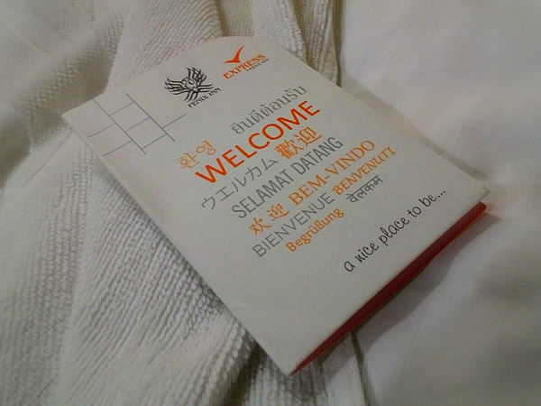 Welcome card from Fenix Inn, Malacca