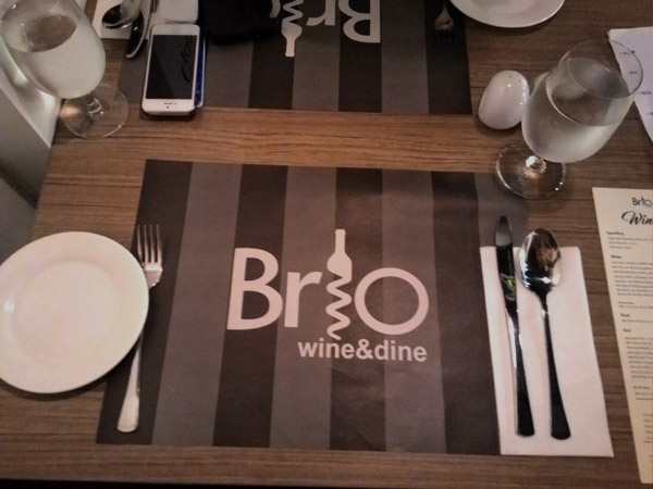 Brio Wine and Dine table