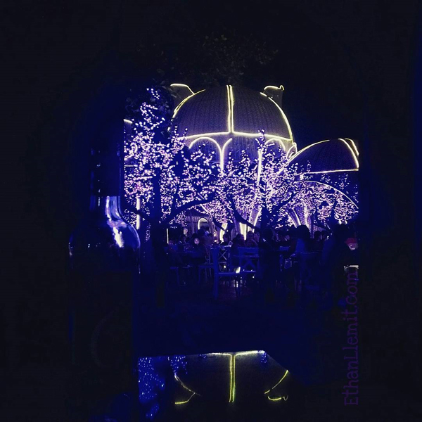 inside the garden of La Vie Parisienne at night