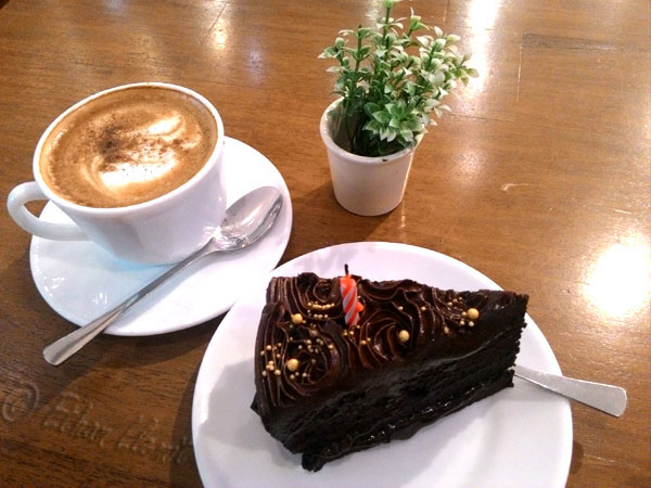 Chocolate ganache and a cup of cappuccino from Vanille Bistro in Banilad, Cebu