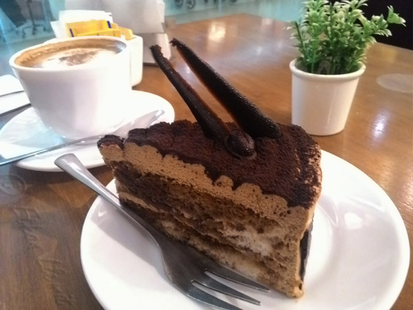 Tiramisu slice and cappuccino from Vanille Bistro in Banilad area of Cebu City