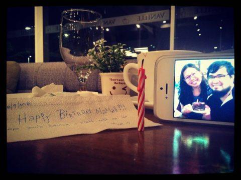 A friend's birthday message written on tissue paper