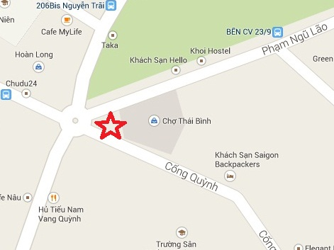 Location map of local bun bo hue vendor in Saigon